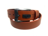 New products 2019 innovative western style smooth buckle belt in black matter PU leatherette